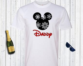 Daddy Mickey Head Snowflakes Christmas Men's Disney Shirt. Disneyland Shirt. Gift for Disney Lover. Gift for Dad. Christmas Shirt.