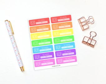 School stickers - 14 rainbow reminder stickers, study reminder stickers, perfect for erin condren life planner and happy planner