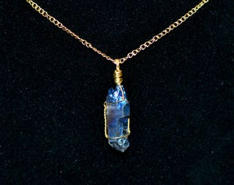 Blue Crystal Chain Necklace