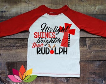 Christmas SVG, DXF, His Light Shines Brighter Than Rudolph, Religious Holiday, Cross cut file for silhouette cameo and cricut