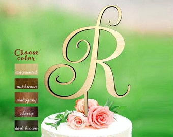 r cake topper, letter cake topper, cake toppers wedding, initial cake topper, monogram cake topper, rustic cake topper, letter r, CT#185