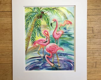 Watercolor Print // Flamingo Folly 12x18