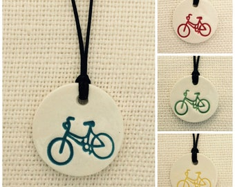 Bicycle Essential Oil Diffuser Necklace/Ceramic/With Free 100% Pure Lavender Essential Oil