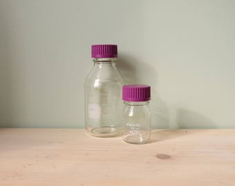 Set of 2 laboratory Glass Bottle - 500ml and 100 ml - Pyrex - Apothecary jars