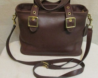 Vintage COACH Legacy Espresso Brown Leather Satchel Crossbody Handbag Purse 9063