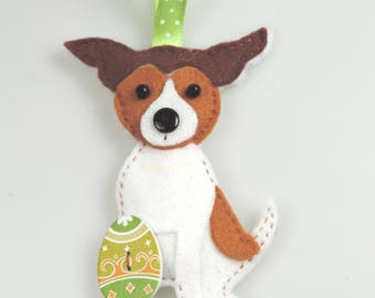 Jack russell dog etsy jack russell dog handmade felt easter twig tree decoration with easter egg postable negle Images