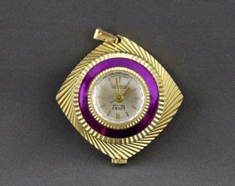 Vintage Diamond Cut Purple Enamel Ladies Windup Watch Pendant By Lucky