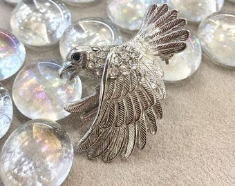 VINTAGE SPHINX - Eagle Bald Eagle bird Vulture Crystal brooch