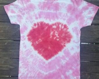 Pink heart tie dye, hippie top, heart shirt, women's tie dye, tie dye tshirt, girly tie dye, pink heart, tiedye, pink, heart tie dye, heart