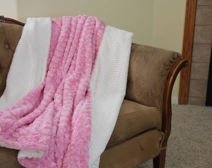 Minky Blanket Girl, Chevron Blanket, Large Minky Throw Blanket, Pink Minky Throw, White Chevron Faux Fur, Gift for Her, Ready to Ship