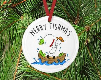 Round Ceramic Fishing ornament, Gift for fisherman, Gift for him, Christmas ornament, Ceramic Ornament, Husband gift, tree, fishing, Boat