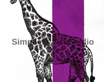 Giraffe Original Artwork Prints / Various Colors Available/ Various Sizes Available