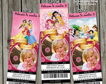 Disney Princess Invitation with Photo, Disney Princess Invite, Disney Princess VIP Pass, Ticket Invitation, Disney Princess Birthday Party