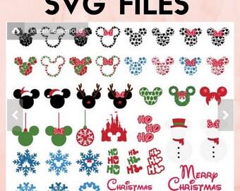 svg mickey minnie christmas SVG bundle santa elf reideer rudolph svg dxf jpeg format layered cutting files clipart die cut cricut silhouette