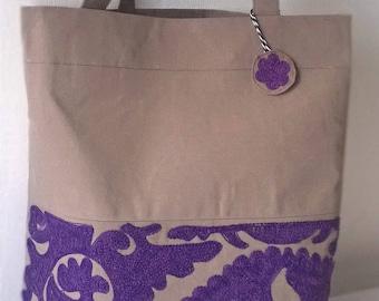 Beige and Violet embroidered handbag Shoulder bag Purple embroidery