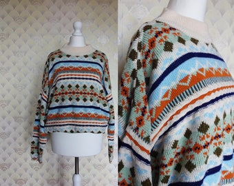 Colorful Vintage Sweater, blue orange sweater, white vintage sweater, winter vintage sweater, 90s rhombus sweater, 90s clothes XS S M