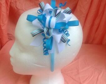 Blue,white & brown headband