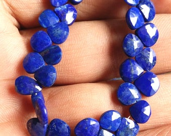 "LAPIS LAZULI faceted heart shaped beads,Nice quality lapis, size -- 6 mm to 8 mm, 8"" strand [E1540] Lapis lazuli beads"