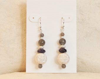Afternoon Thunderstorm: labradorite and sterling silver earrings