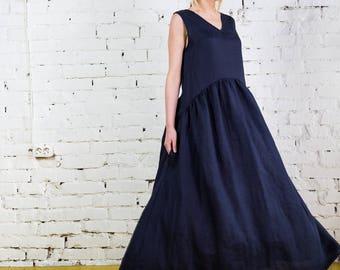 Linen dress, long linen dress, linen overalls, dress sleeveless, maxi linen dress, boho dress, linen tunic/LD0021