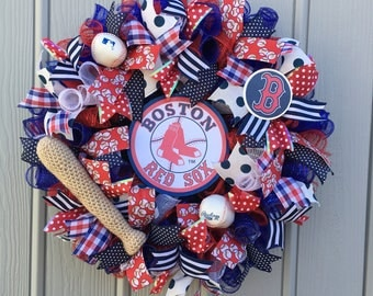 Boston Red Sox Mesh Wreath, Boston Red Sox deco mesh wreath, MLB Deco Mesh Wreath, baseball Wreath, Red Sox Baseball Wreath, Sports Wreath.