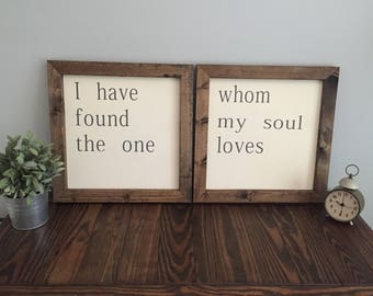 I have Found the One Whom My Soul Loves Farmhouse Sign Set