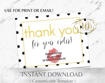 Black Polka Dot and Yellow Digital Thank You/Physical Thank You Postcard