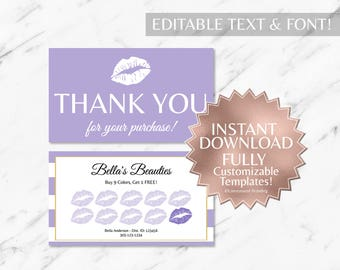 Purple|Striped|Gold|LipSense Loyalty Card|LipSense Thank You|LipSense|SeneGence|Lip Loyalty|Marketing|Branding|Makeup Loyalty|INSTANT