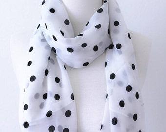 Soft Elegant Long Wrap Scarves / Black and White / Polka Dot Spring Summer Scarf / Women Scarves