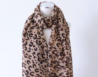 ON SALE//Soft Elegant Long Wrap Scarves / Black and White / Natural Leopard Print Spring Summer Scarf / Women Scarves