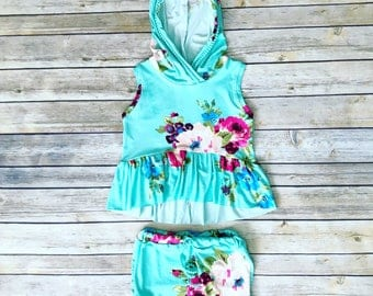 Floral high low Peplum hoodie & bloomers. - Baby outfit. - *Ready to ship