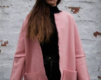 Recycled Wool Coat in Pink