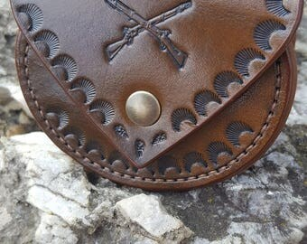 """Leather coin purse """"Hunt""""."""