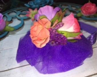 Purple Flower Baby Headband/Tulle Headband/Baby Headband/Child Headband/Purple Headband/Baby Shower Gift/Cute Baby/Headband