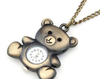 Vintage classy teddy bear fashion style Necklace Pendant pocket watch