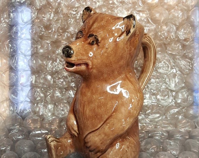 Antique Majolica Brown Bear Pitcher American Circa 1900 - Excellent Condition - Cute and Rare