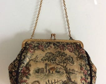 Vintage Mid-Century Tapestry Handbag / Brocade Bag of Flowers and Ancient Landscape 1930-40