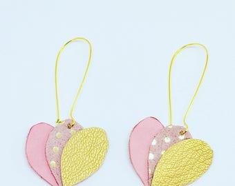 Leather lotus earrings