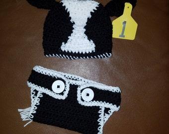 Black white face crochet calf hat and diaper cover - Newborn