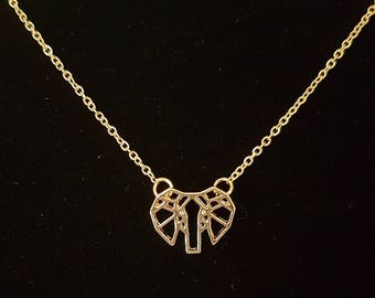 Gold abstract Elephant head charm necklace