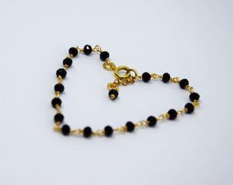 Rose Gold Chain Bracelet, Black Bracelet, Black Crystal Bracelet, Slim Bracelet, Boho Chic Style Bracelet.