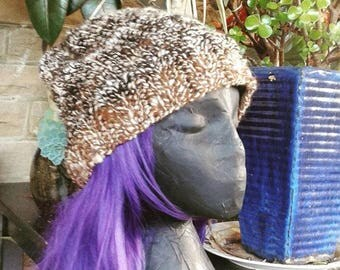 Slouchy handspun alpaca knitted lined beanie