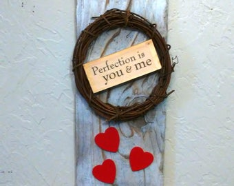 Heart Wood Love Sign, Wooden Plaque, Be My Valentine Day, Wall Hanging Wood, Wedding Decor, Anniversary Gift