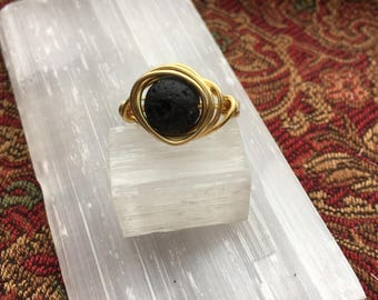 Wire Wrapped Ring, Lava Stone Ring, Gold Ring, Diffuser Ring
