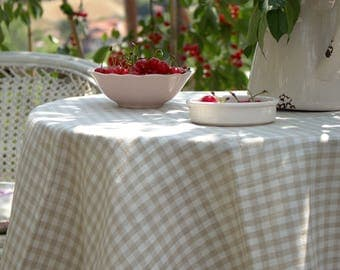 Linen Tablecloth -Natural Linen Tablecloth-Wedding Tablecloth- Handmade Tablecloth- choose your size #Fall of the Leaf#