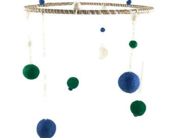 Wells felt ball nursery mobile - Blue, Green, White