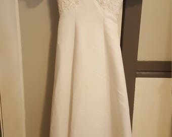 Vintage Long Wedding Dress, Lace and Beaded Empire Waist Dress, White Satin Wedding Dress