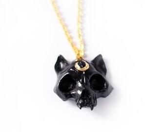 Cat Skull Necklace in black Moon - animal pendant, kitten skull, black goth pendant, moon, plastic necklace ,goth jewelry, cat skull jewelry