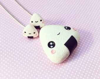 Kawaii Onigiri set-Necklace + Stud Earrings, Kawaii Food Miniatures