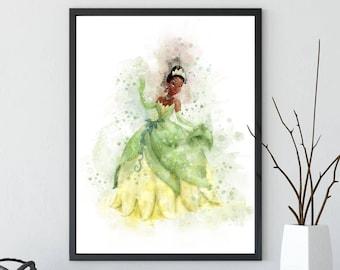 Disney Princess Print, Princess and the Frog, Tiana, Watercolor Art, Printable, Home Decor, Wall Art, Baby Nursery Decor, Kids Decor, Gifts
